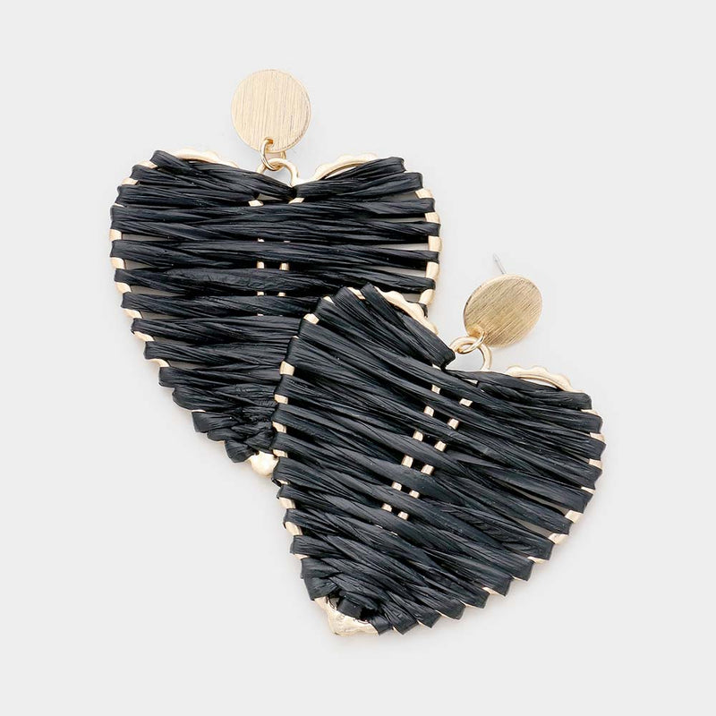 Straw Heart Earrings