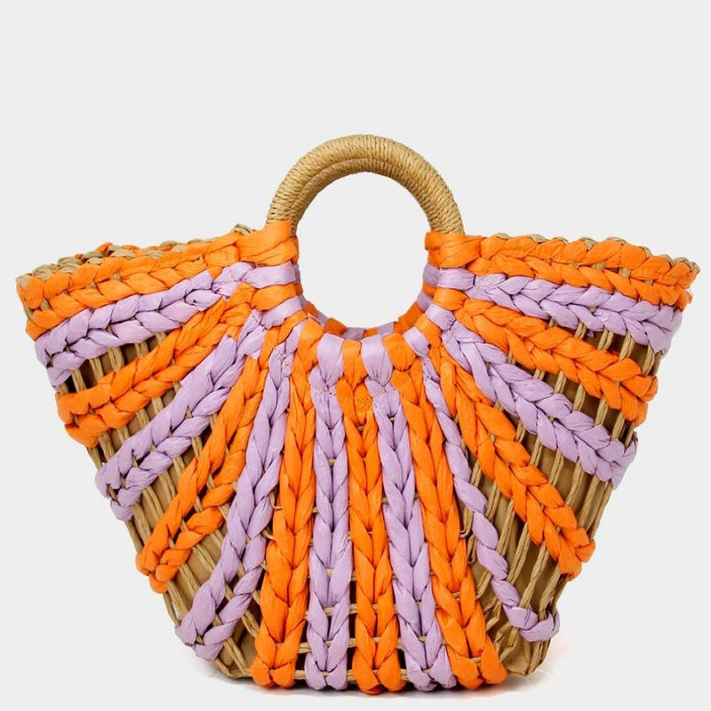 Lilac and Tangerine Straw Tote Bag