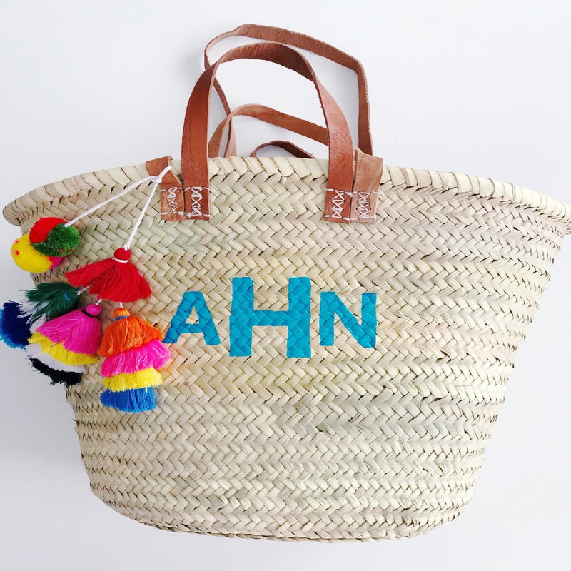 Double Strap Monogram Straw Tote
