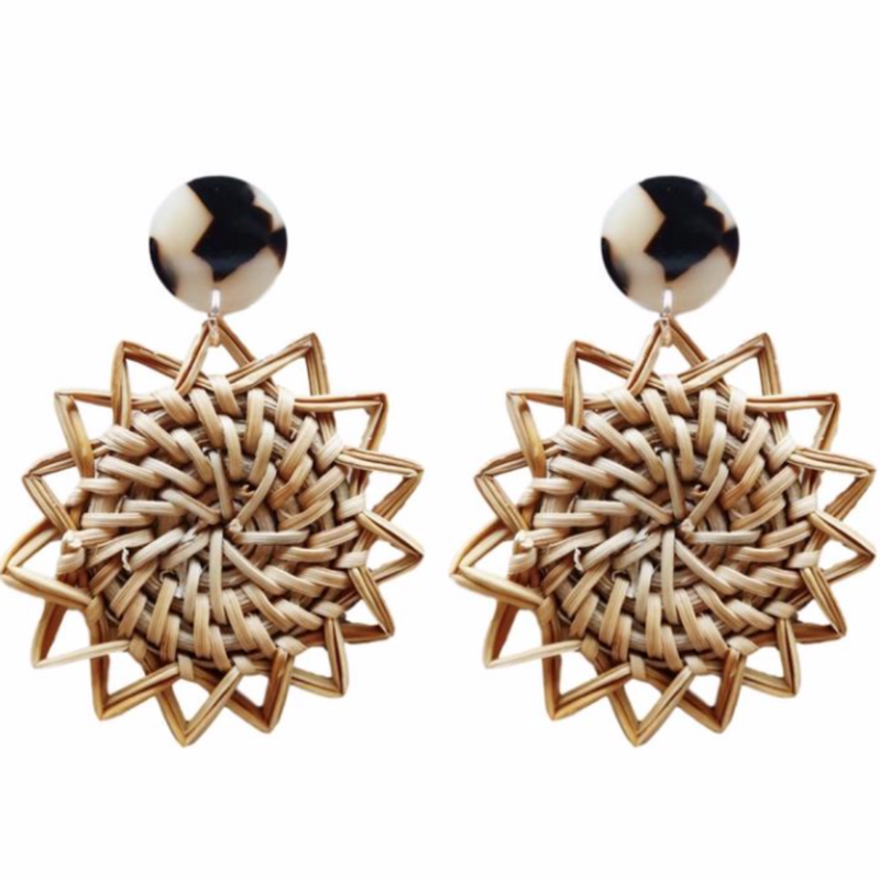 Sunburst Rattan Drop Earrings