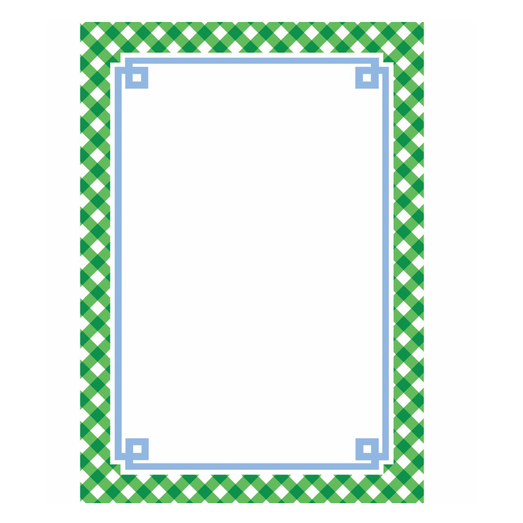 Green Gingham Notepad