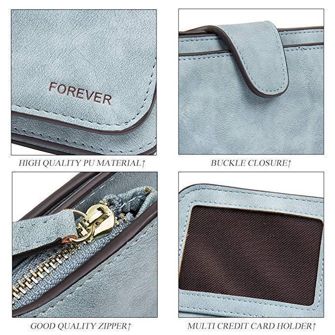 Leather Zipper Long Wallet Card Holder