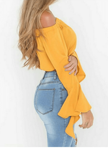 Off-the-shoulder ruffle sleeve blouse