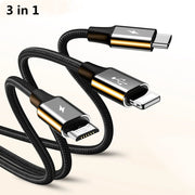 3 in 1 data line/charger cable