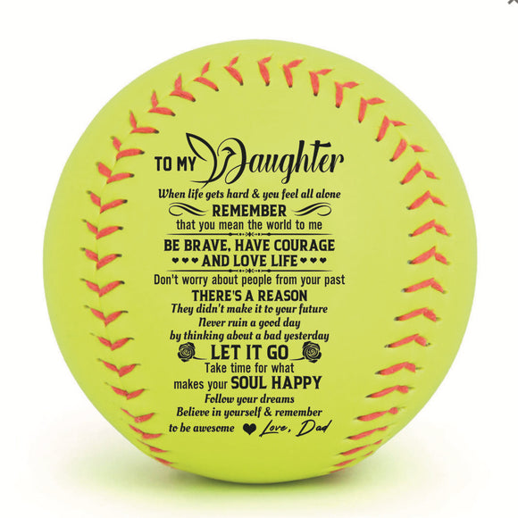 To My Daughter Baseball Ball