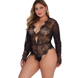 Big Code Lingerie Long Sleeves Underwear Lace Pajamas One-Piece Garment