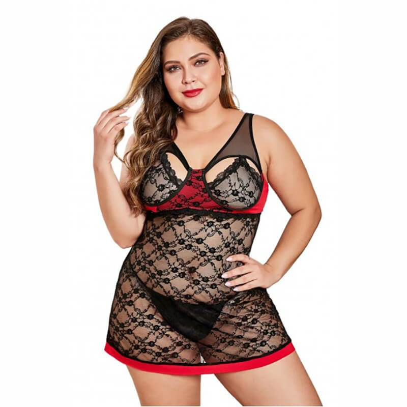 Red Black Color Block Plus Size Babydoll
