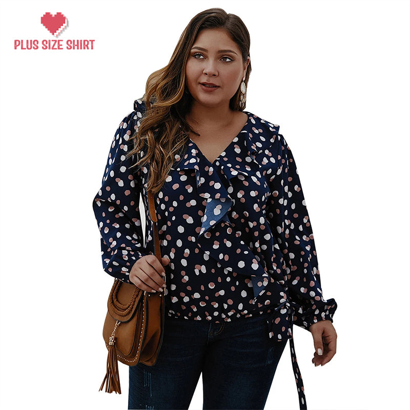Polka dot ruffled long-sleeved shirt