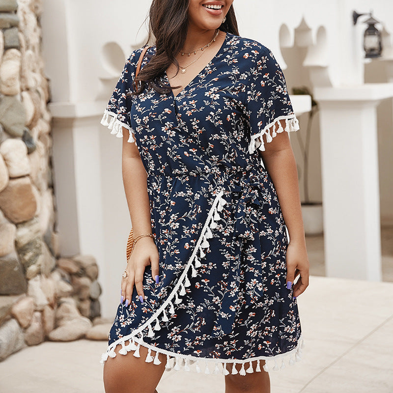 Oversized floral wrap chest dress