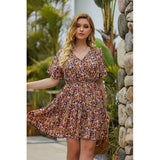 V-neck print chiffon dress