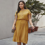 Summer short sleeve solid color dress