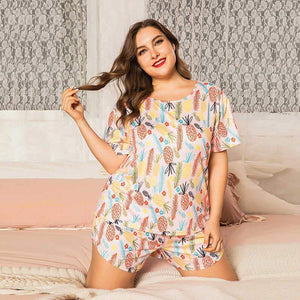 loose floral print pink T-shirt and shorts home wear two piece suits