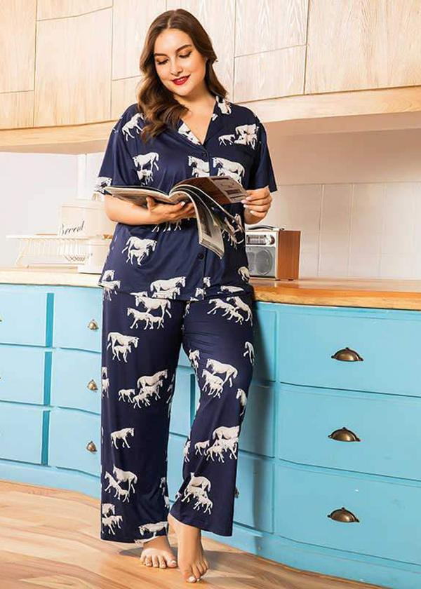 loose short sleeve blue print shirt home wear suits