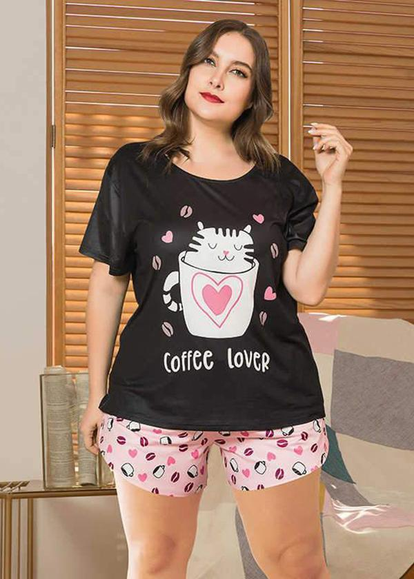 Polka Dot Print Loose Style Short-sleeved Shorts Pajama