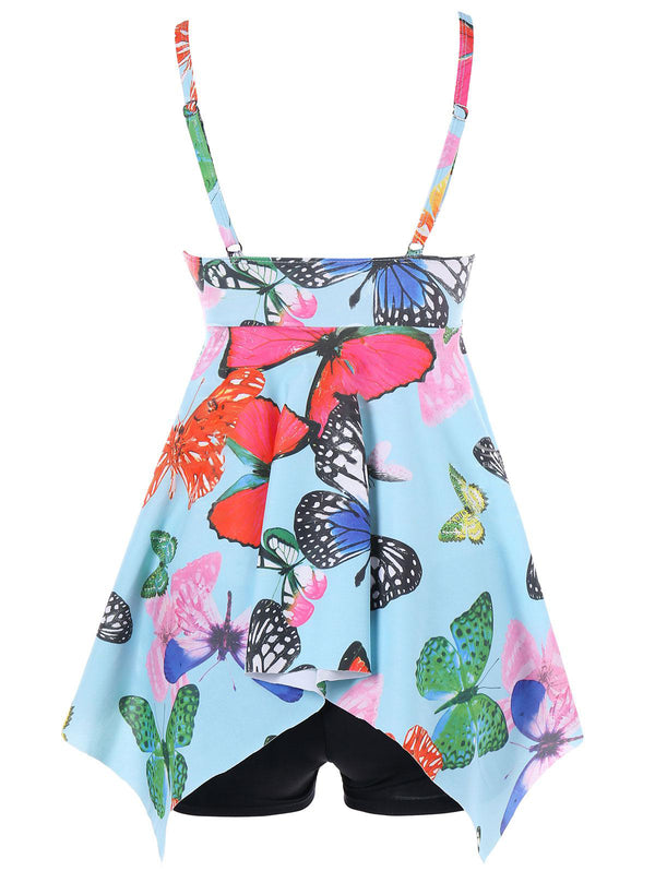 Tricolor butterfly youth swimsuit