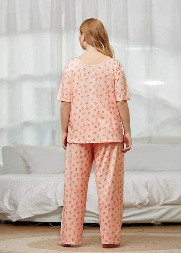 Home Clothes Two-piece Suit with Flower Printing Comfortable Pajamas