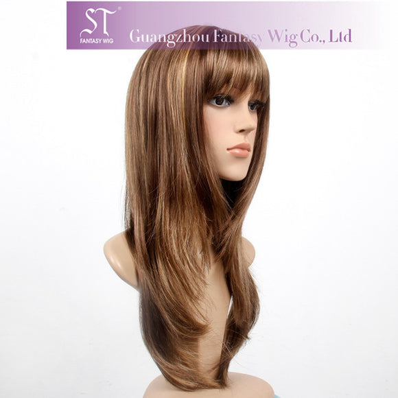 Highlighted brown high-quality lace wig