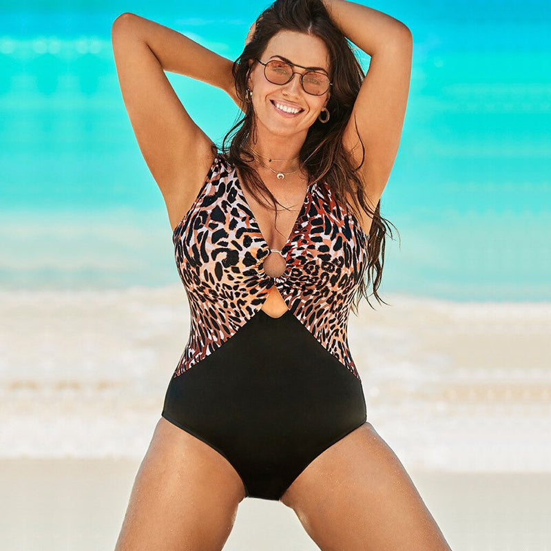 One-Piece Leopard Patchwork Swimsuit