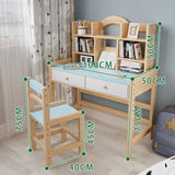 Wooden Student Desk And Chair Set With Drawers And Bookshelves Adjustable Height