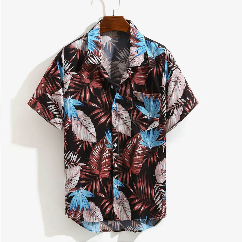 Mens Printed Hawaiian Loose Shirt