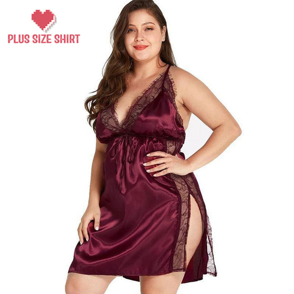 Lace Solid V Neck Sexy Backless Mini Night Dress