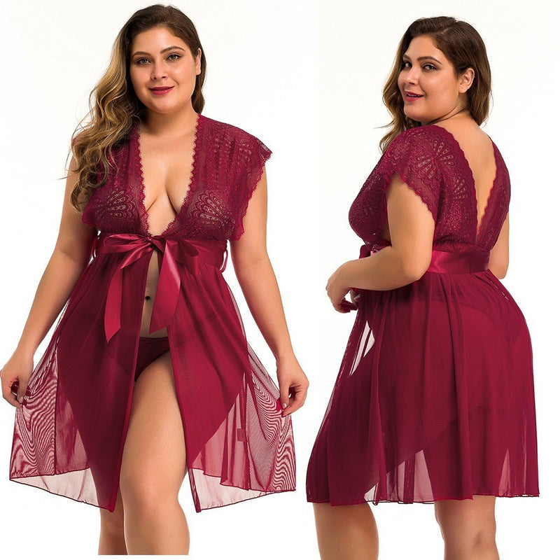 Fashion Sexy Women Lace Sexy Plus Size Lingerie Pajamas 1XL-4XL