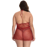 Lace Splice Plus Size V-Neck Backless Pajamas Sexy Lingerie Sleepwear