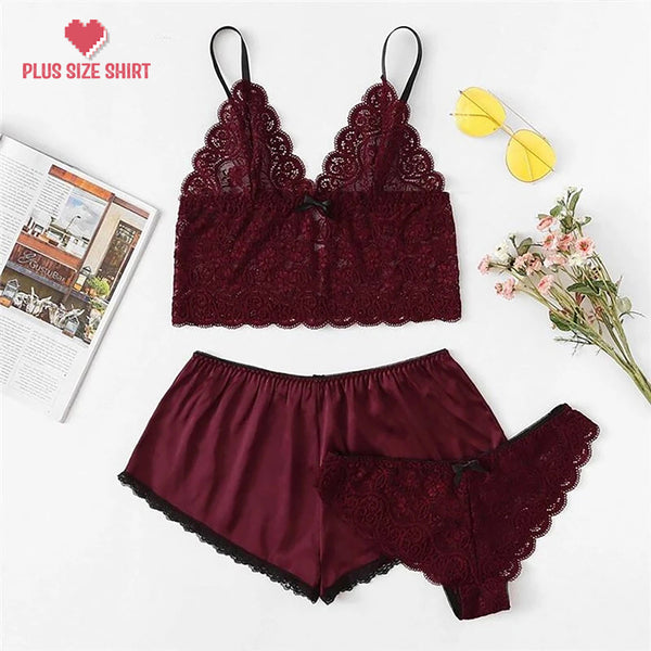 Sexy Satin Lingerie Lace Shorts Set  Underwear