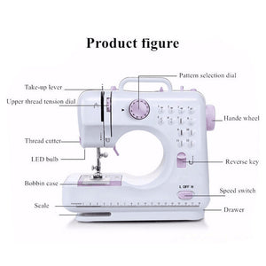 Portable Sewing Machine with Foot Pedal Household Sewing Tool for Beginner