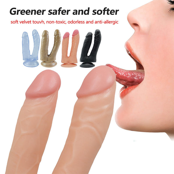Female Hand-Free Double Headed Dildo Device With Simulated Penile Sucker Sex Toy