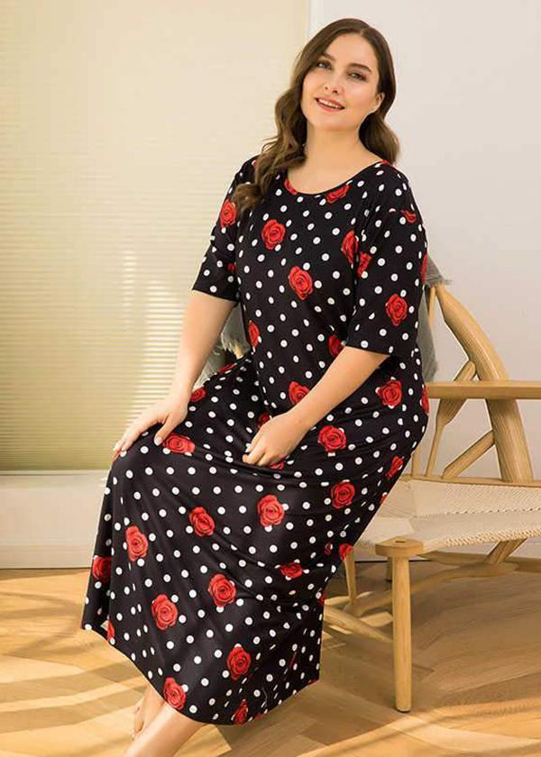short sleeve black dot print flower dress