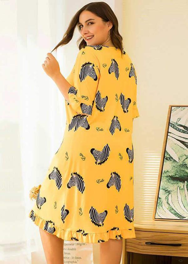 long pajamas large loose short sleeve floral print yellow dress