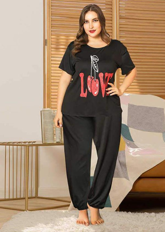 LOVE printed loose short sleeve pajamas