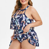 Butterfly Print Criss-Cross Casual Swimwear Set