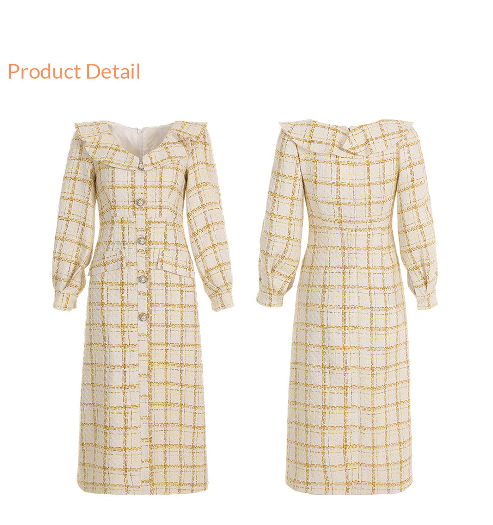 Tweed slim check dress
