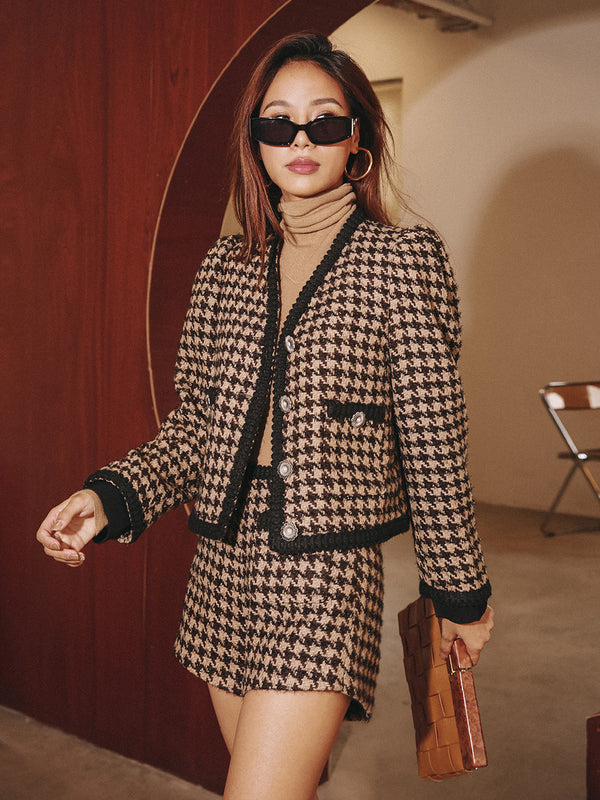 Houndstooth check Top&pants 2 piece - SINCETHEN