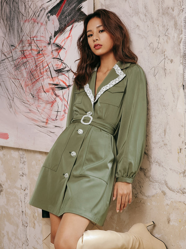 Khaki belted dress - SINCETHEN
