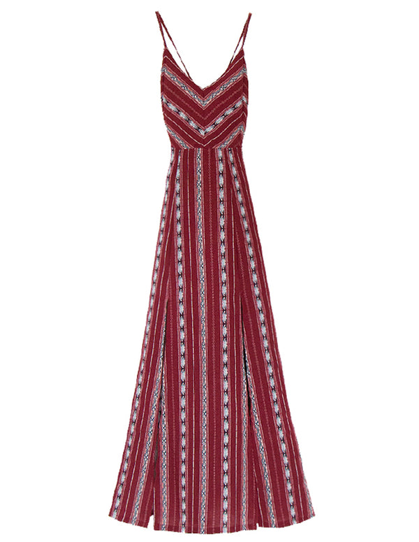 Wine Ethnic Maxi Dress