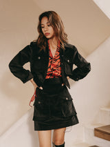 Noir corduroy Jacket+Skirt set - SINCETHEN