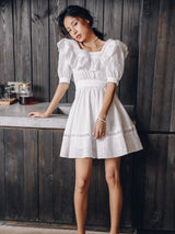 White Punching Short Dress - SINCETHEN