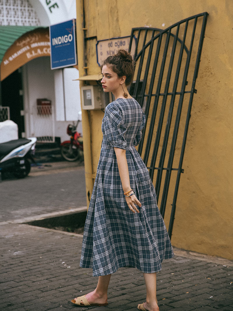 Hol Buttoned Check Patten Dress