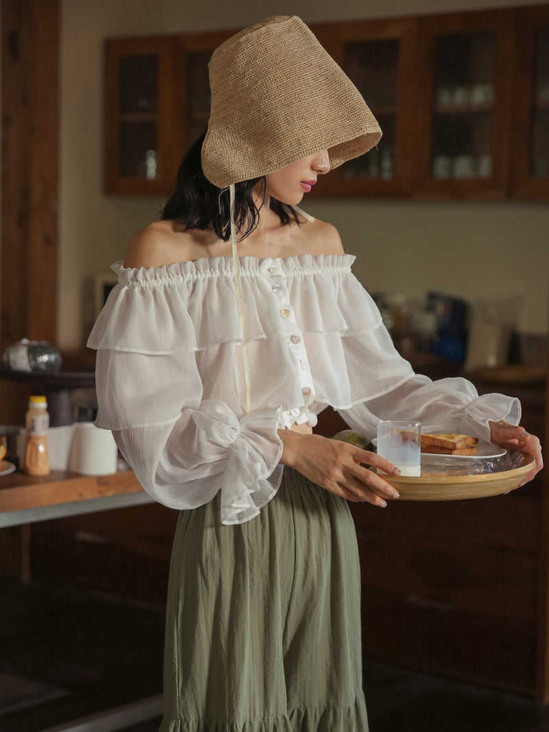 Snow Flower See-thru Off shoulder Blouse
