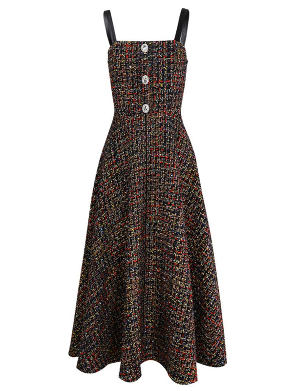 Monica Cell Tweed Long Dress - SINCETHEN