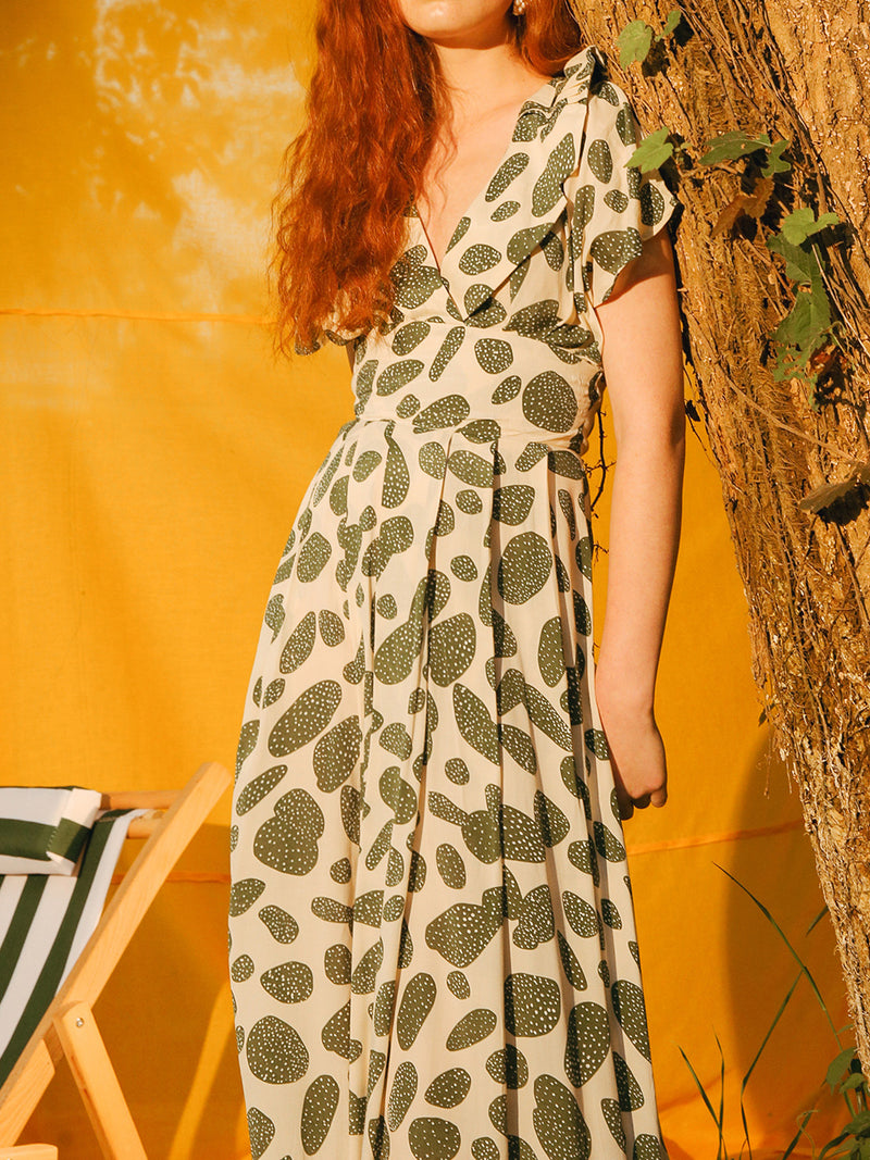 Green polka Dot Dress - SINCETHEN