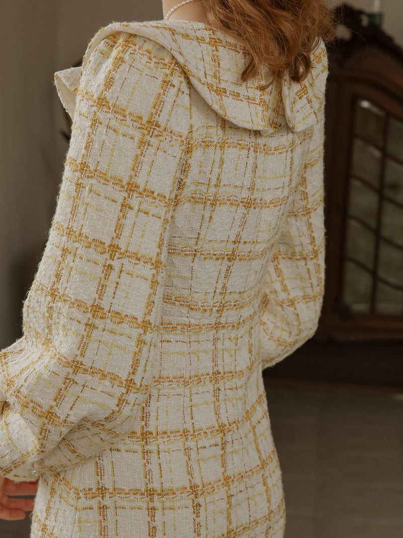 Tweed slim check dress - SINCETHEN
