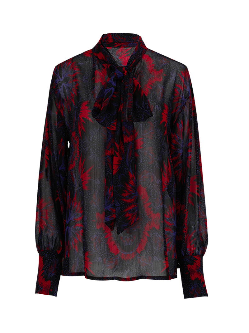 Glossy sheer tie neck blouse - SINCETHEN