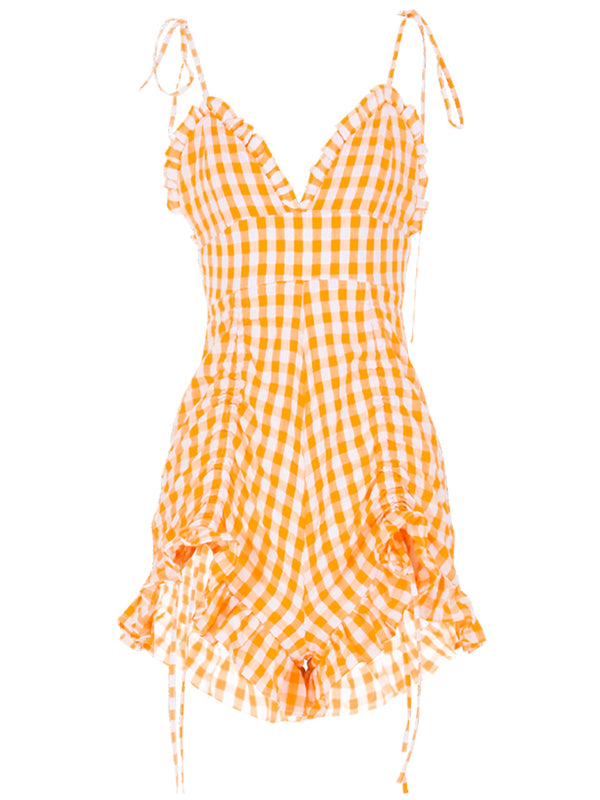 Sunny Orange Short Jumpsuit - SINCETHEN