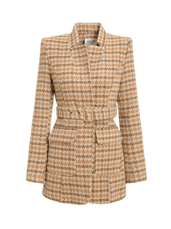 Moody check belted jacket