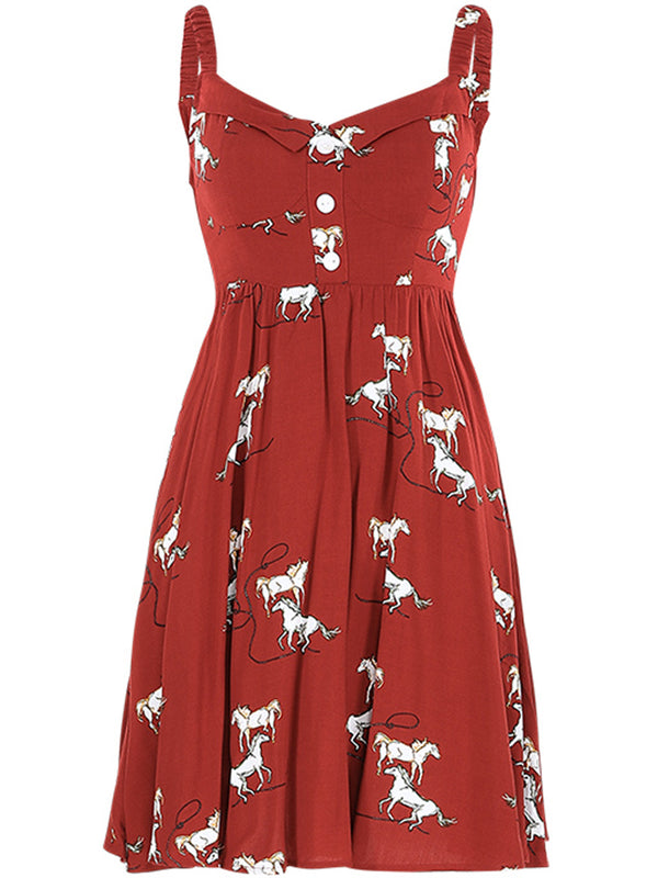 Horse Printing Short Dress - SINCETHEN