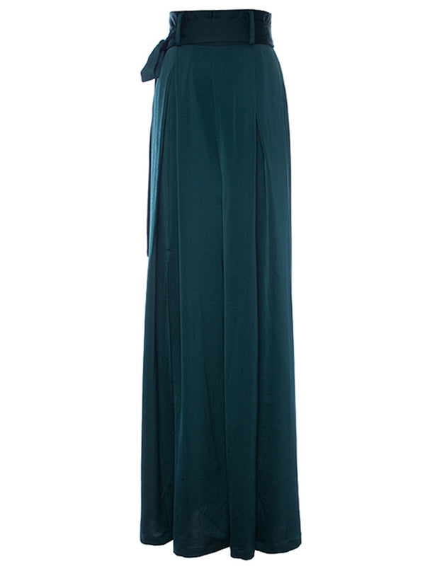 Ms Green Incised Long Wide Pants - SINCETHEN